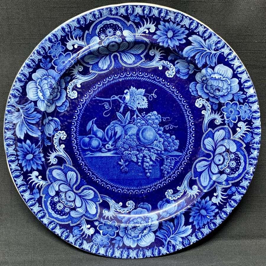 Staffordshire Dark Blue Transferware Plate ~ Fruit Table 1828-1830