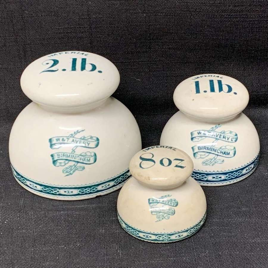 Set of 3 Victorian Ceramic Porcelain Scale Weights c1890