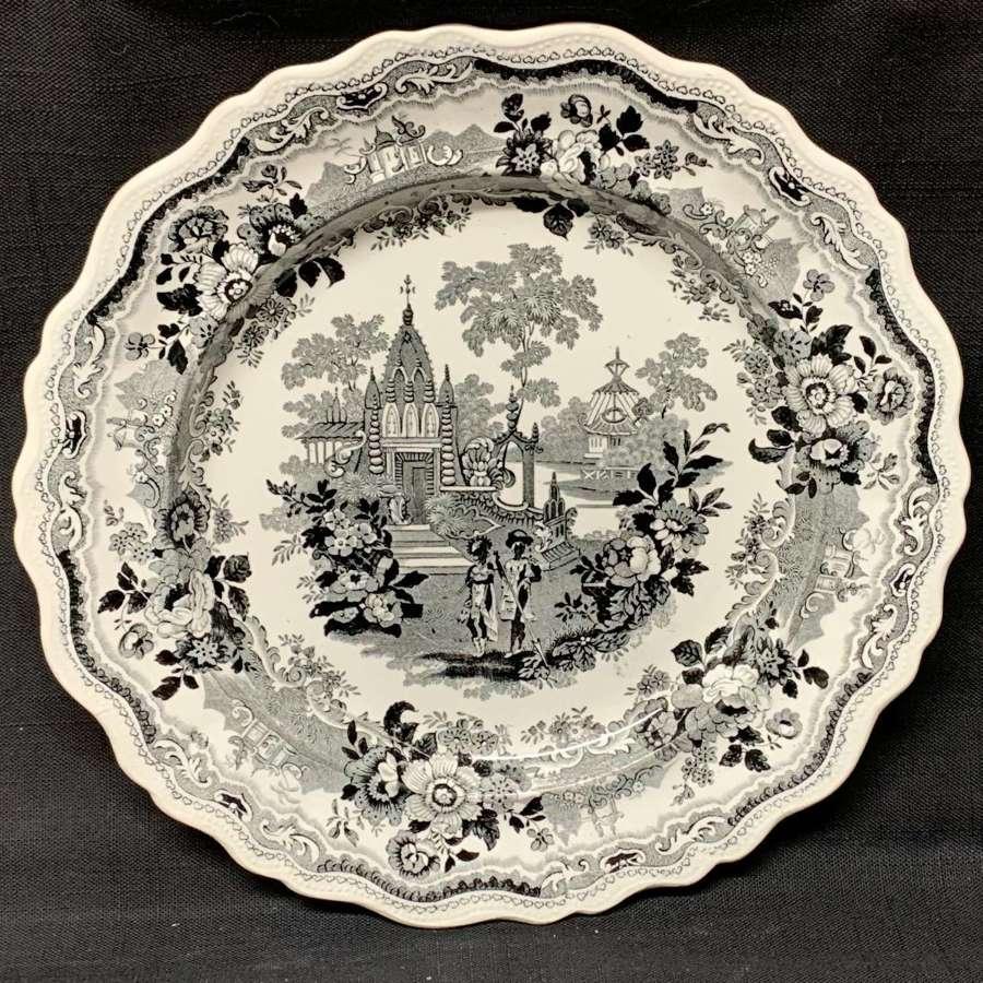 Large Victorian Romantic Black Transferware Plate  1835
