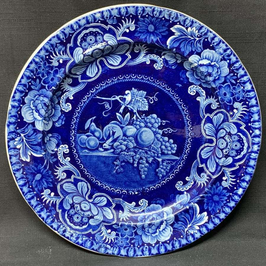 Early Staffordshire Dark Blue Transferware Plate ~ Fruit and Flowers 1