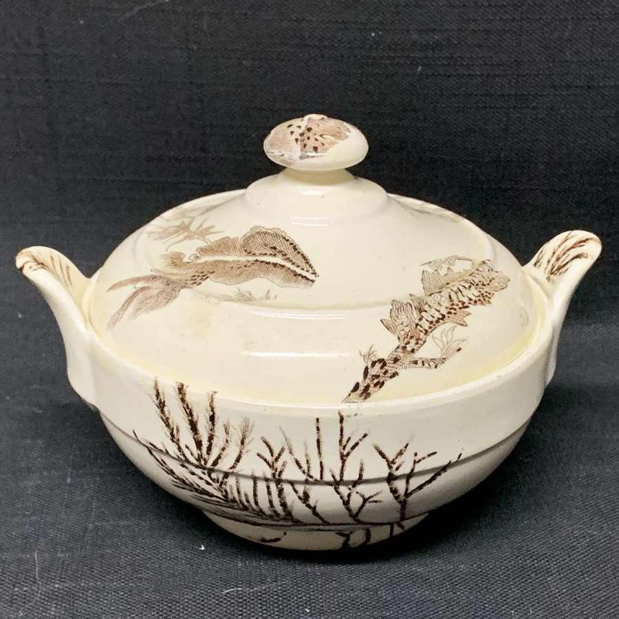 Brown Transferware Sugar Pot Bowl ~ SEAWEED 1883