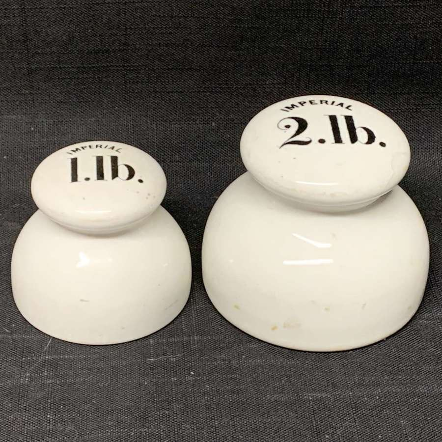Set of 2 Victorian Ceramic Porcelain Scale Weights c1890