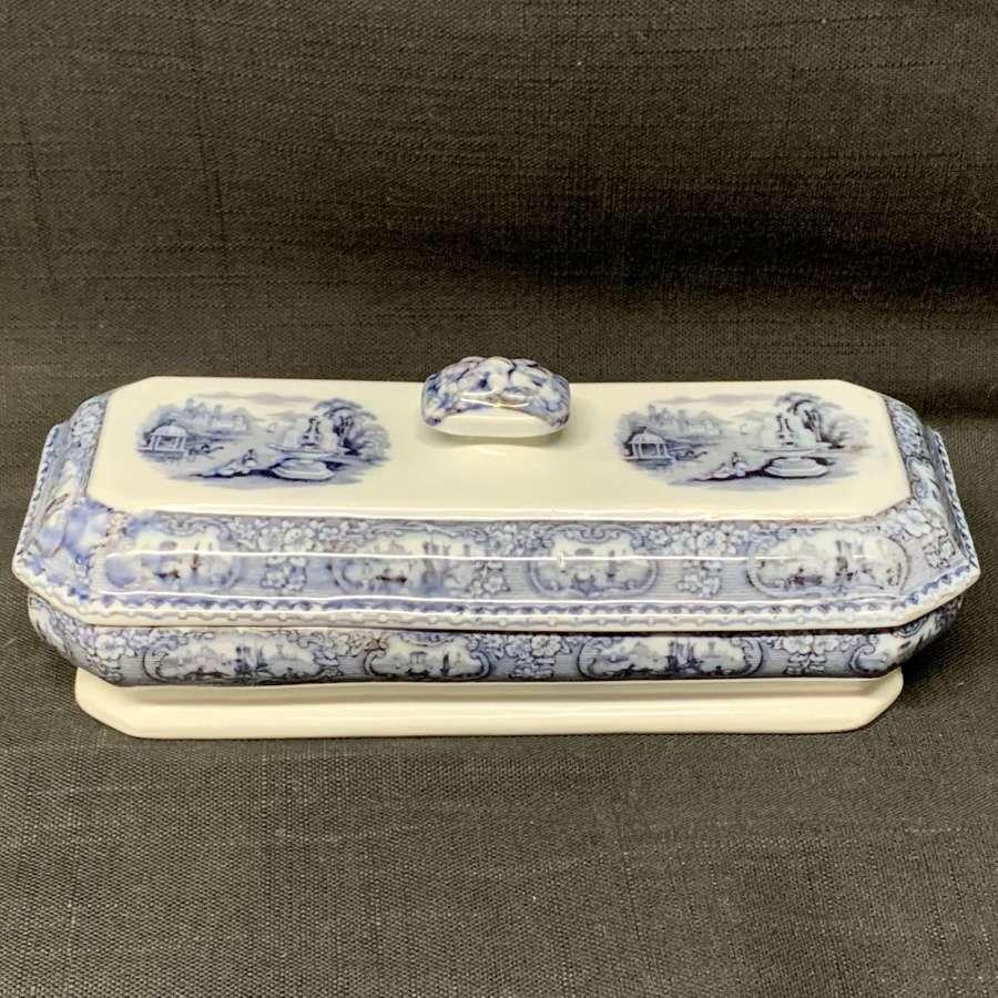 Mulberry Purple Pearlware Staffordshire Razor Box ~ 1830