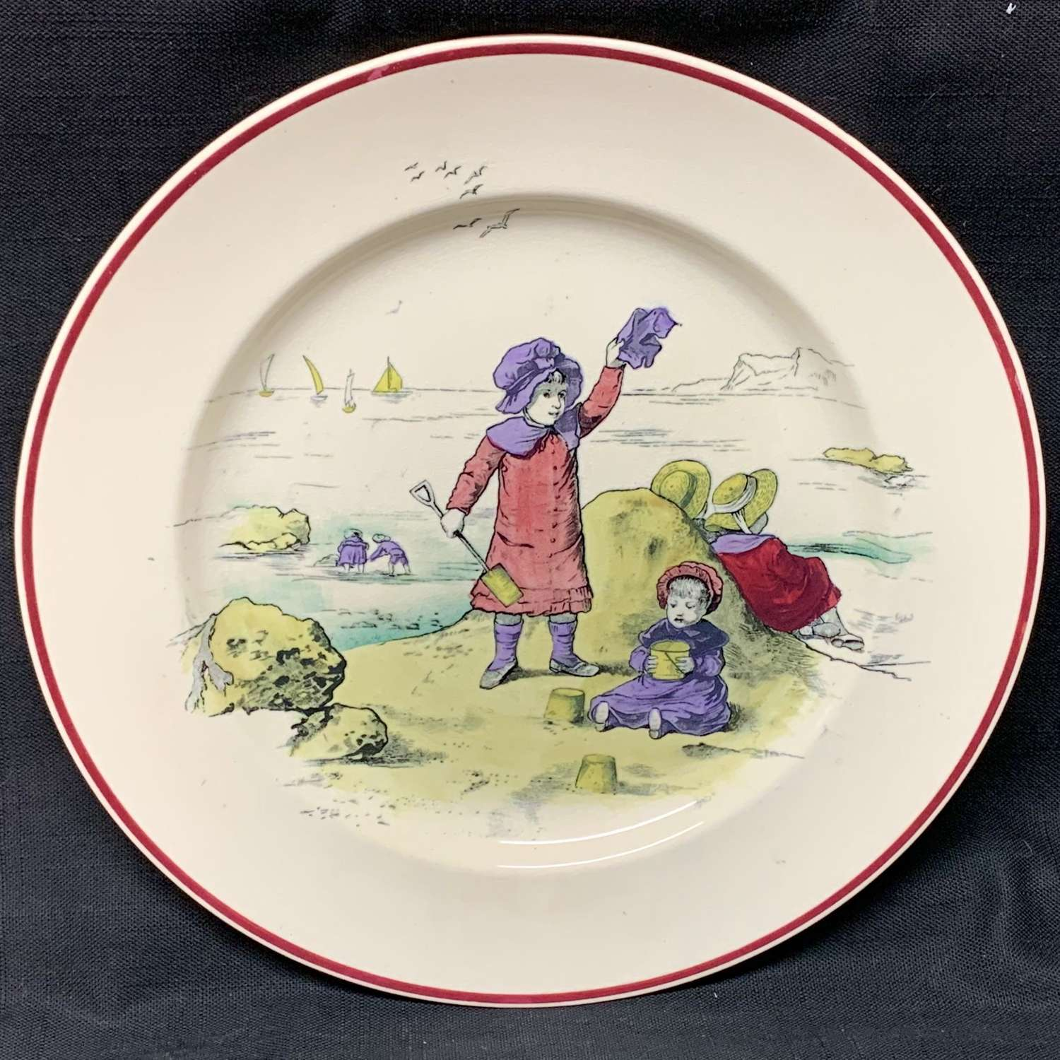 Kate Greenaway Pastime Brownfield Plate ~ 1883 Sand Castles