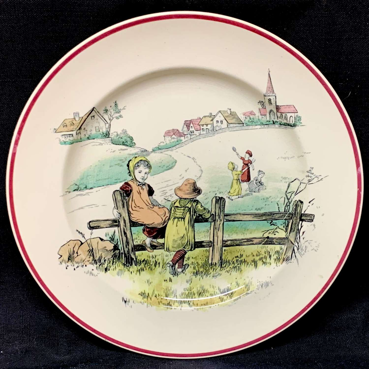 Kate Greenaway Pastime Brownfield Plate ~ 1883 At Play