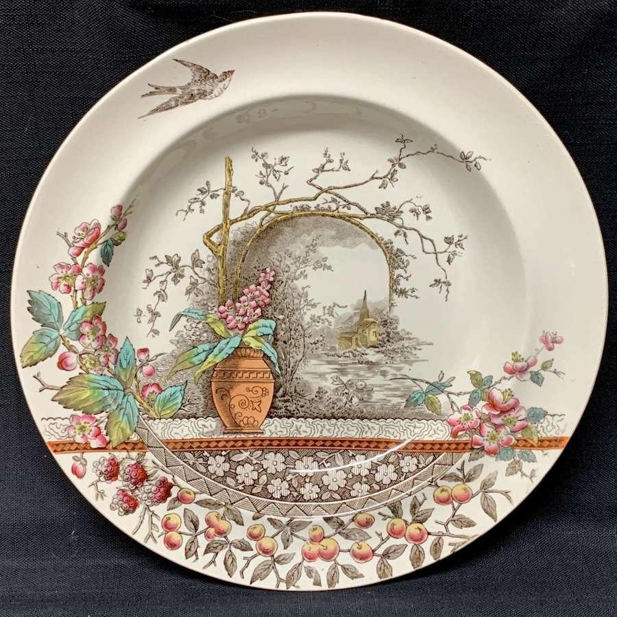 Polychrome BROWN TRANSFERWARE Bowl Plate ~ RUSTIC 1886