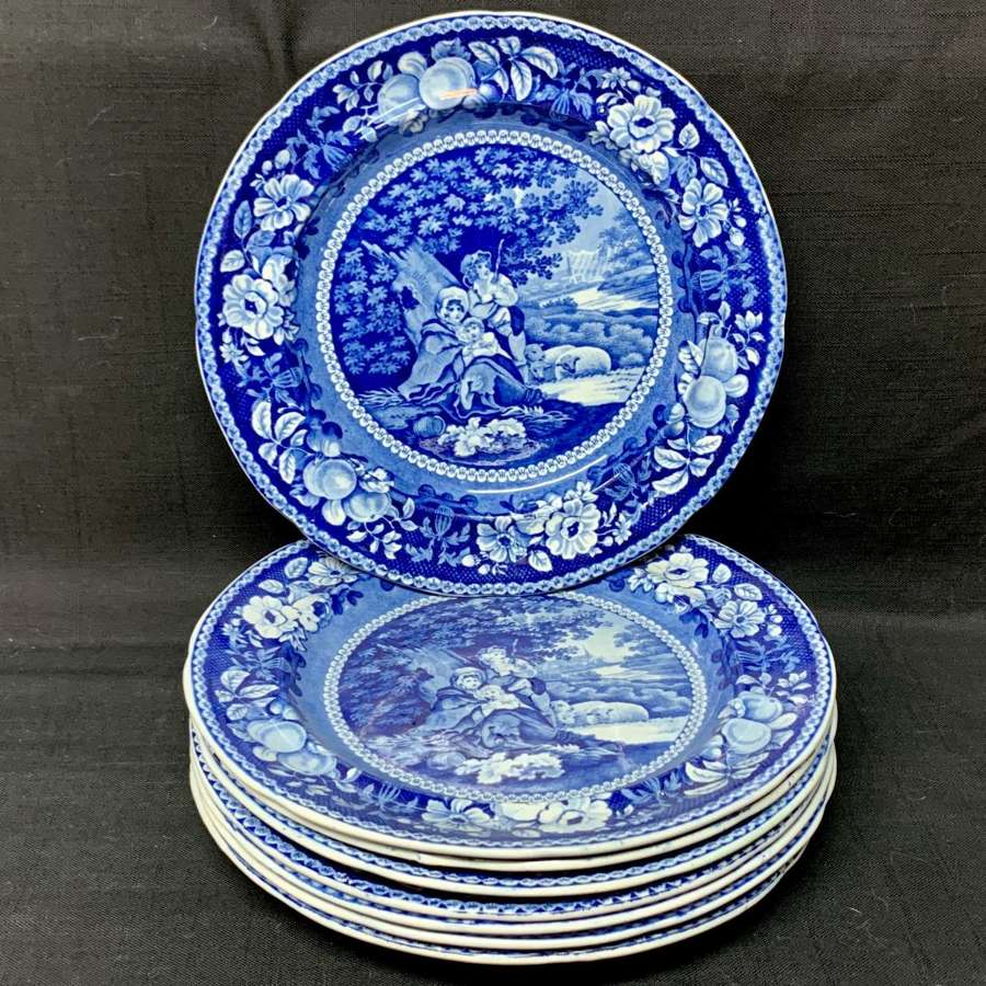 Eight Staffordshire Blue Transferware Plate ~ Sheltered Peasants 1825