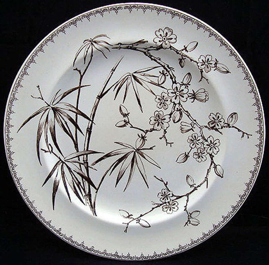 Dark Brown Aesthetic Plate ~ Flowering Plum 1885