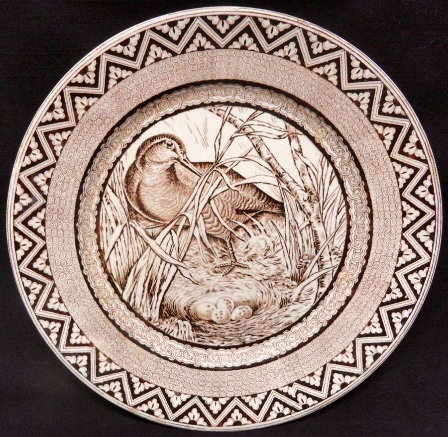 Brown Transferware Plate ~ Wood Duck with Nest and Eggs ~ 1885