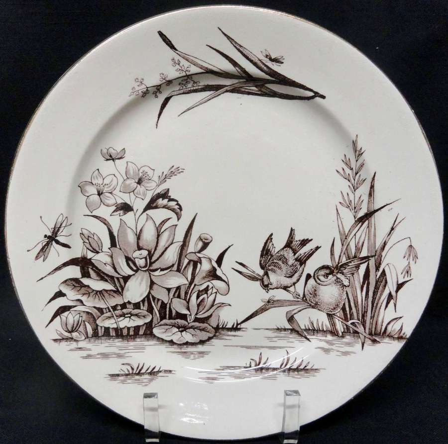 English Brown Transferware Aesthetic Movement Era Plates ~ AMAZON 1880