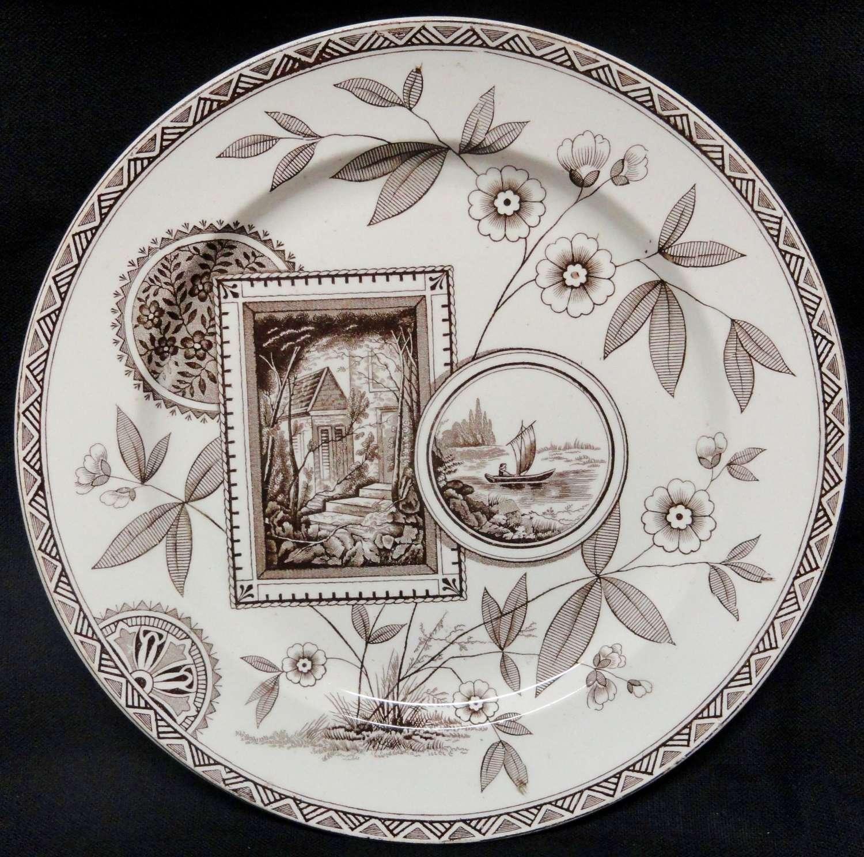 Victorian Brown Transferware Plate ~ PERAK ~ 1885