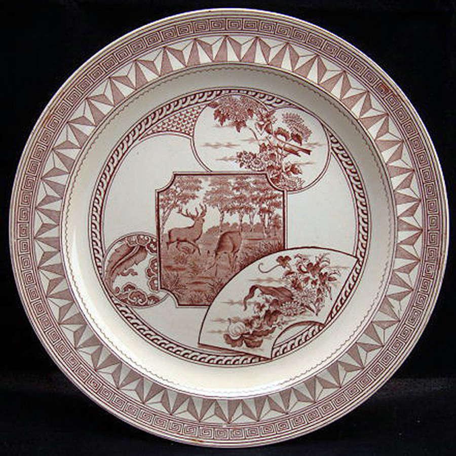 Victorian Brown Transfer Plate ~ DEER & BIRDS 1880