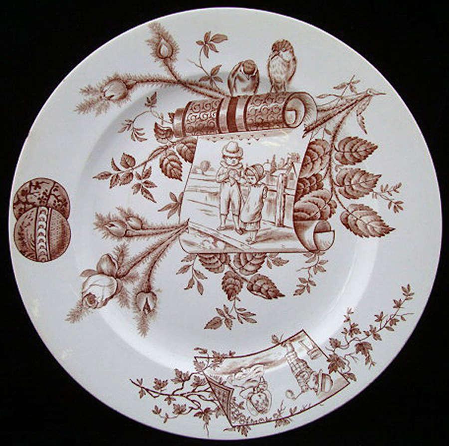 Brown Transfer Aesthetic Plate ~ ROSEBUD 1883