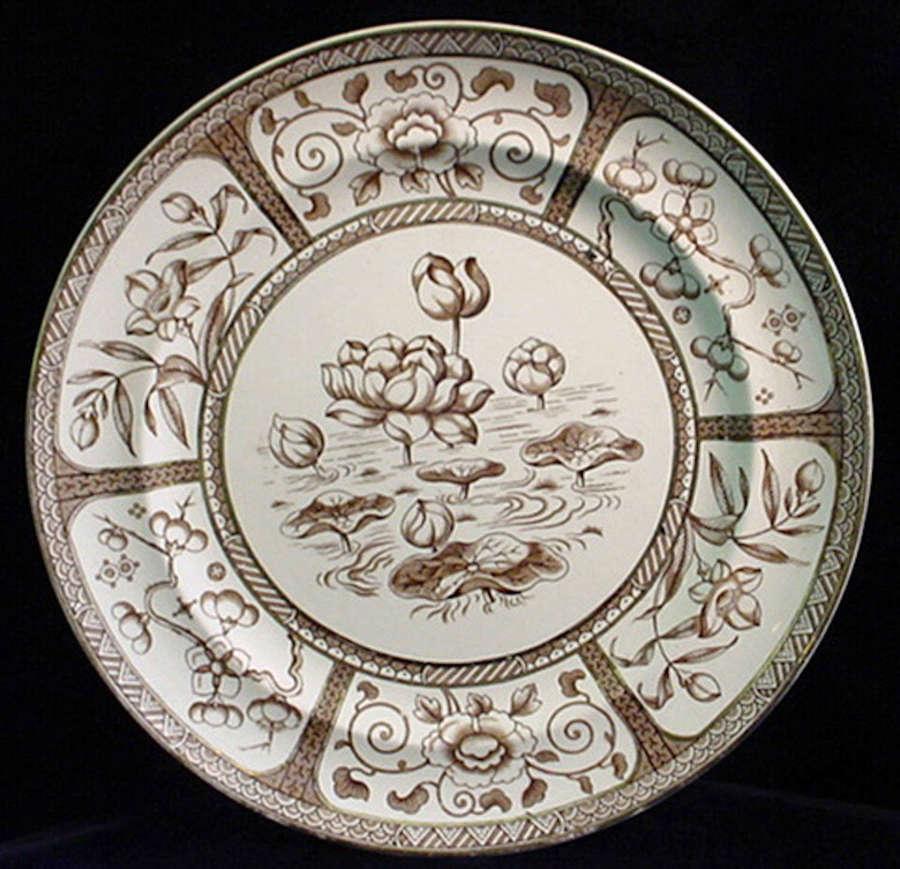 Aesthetic Movement Brown Transfer Plate 1883 JAPAN
