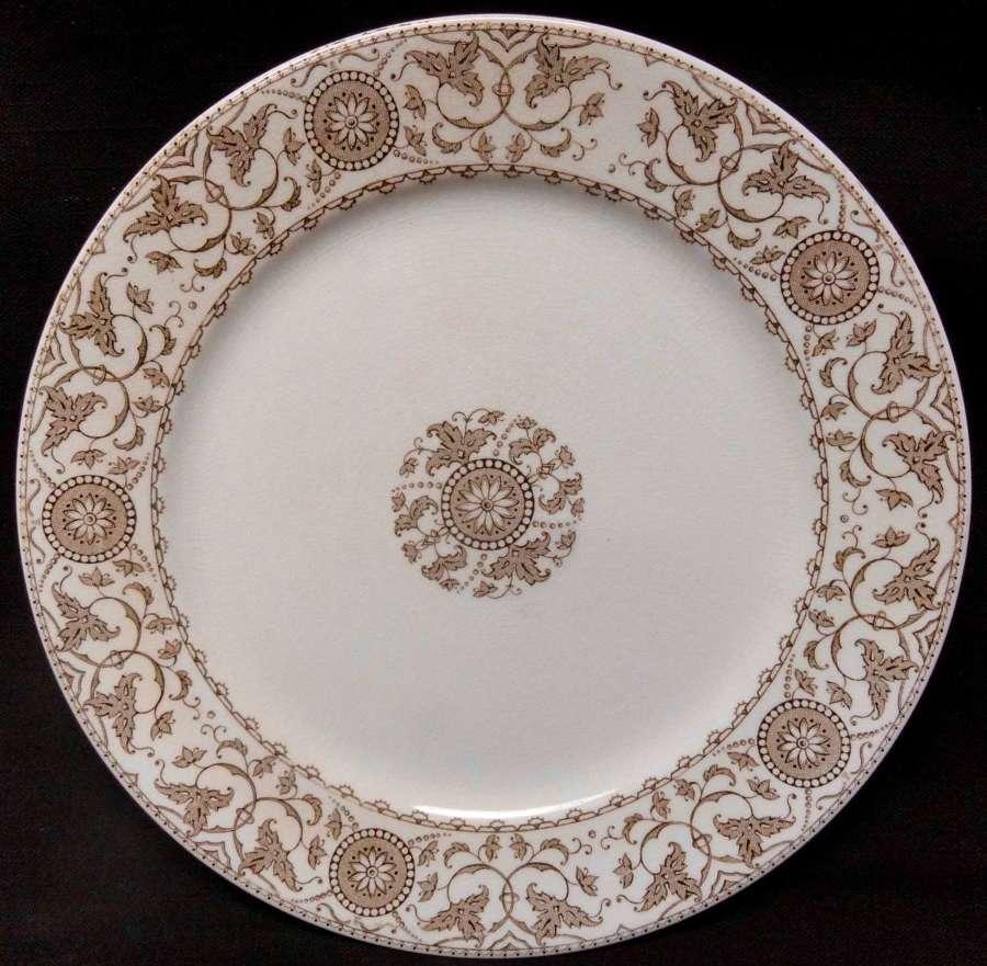 Antique Brown Transferware Plate ~ SUNFLOWERS c1900