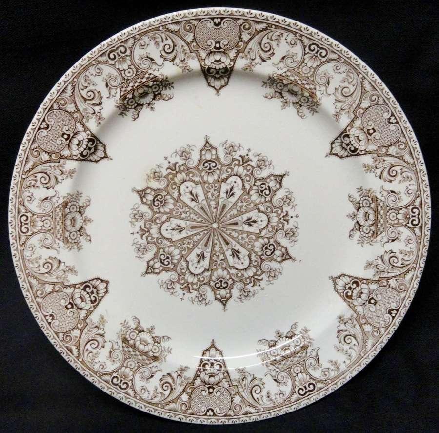 Antique 19th Century BROWN TRANSFERWARE Plate ~ SNOWFLAKE 1882
