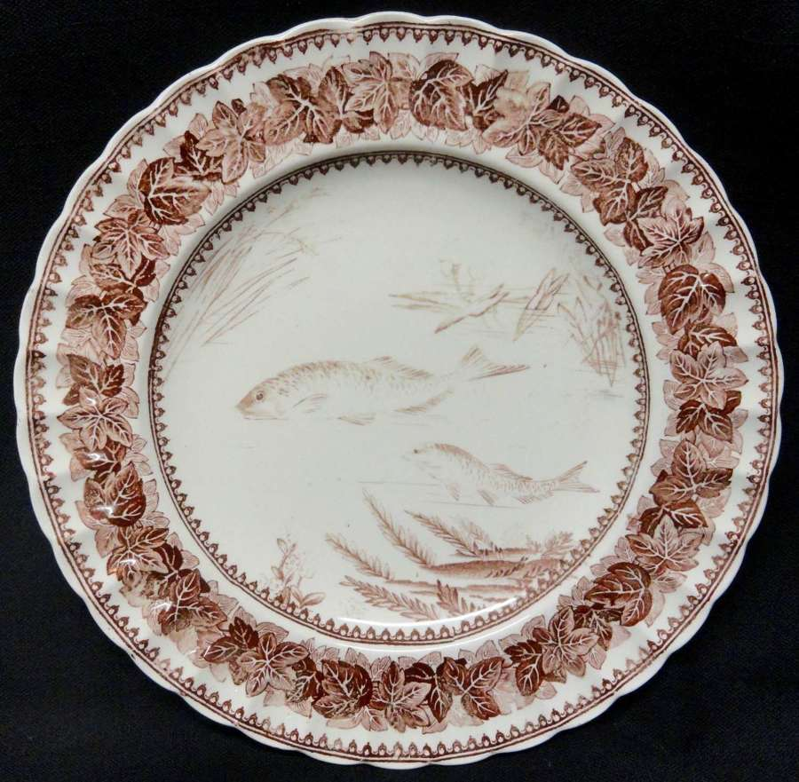 Ivy Leaf Copeland Brown Transfer Printed Plate ~ Fishes ~ 1883