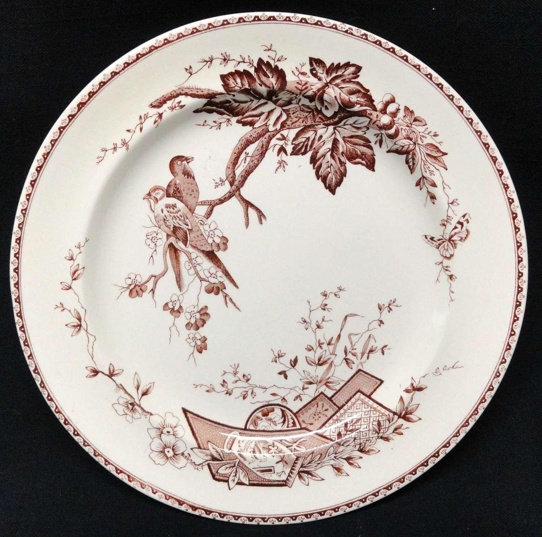 English Victorian Aesthetic Movement Plate ~ LOVEBIRDS 1884