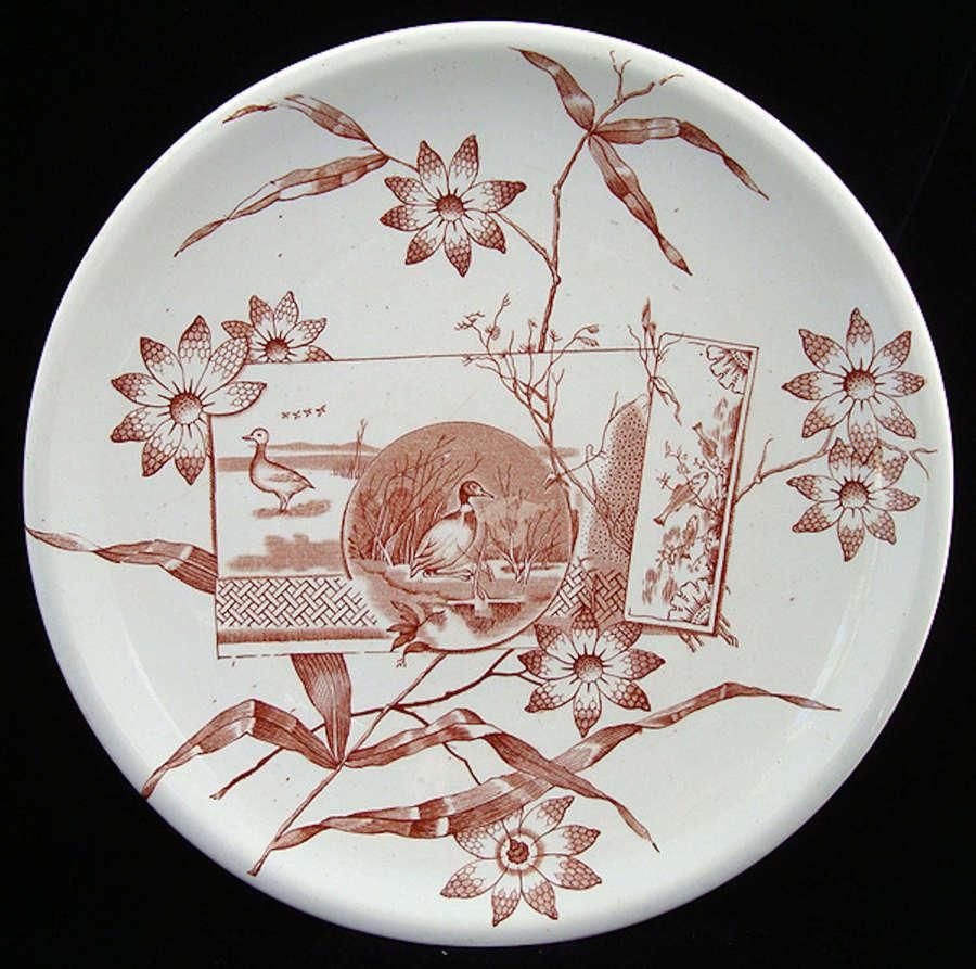 English Brown Transferware Plate ~ DUCKS & NATURE 1870