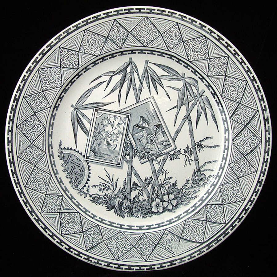 LARGE ENGLISH AESTHETIC TRANSFERWARE PLATE ~ BAMBOO 1885