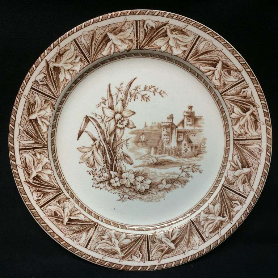 Aesthetic Movement BROWN TRANSFERWARE Plate ~ DAFFODIL 1882
