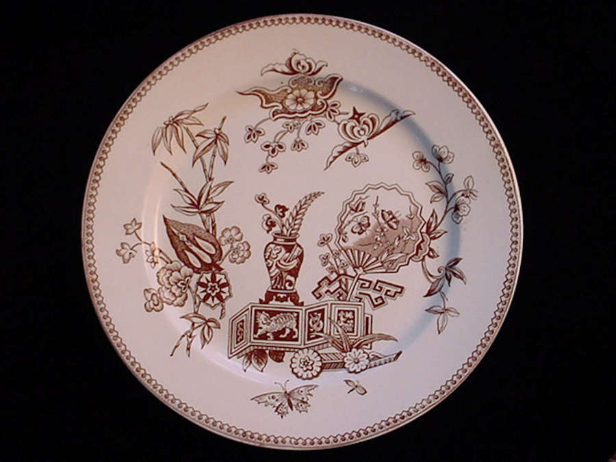 Brown Transfer Oriental Cat Plate ~ 1878