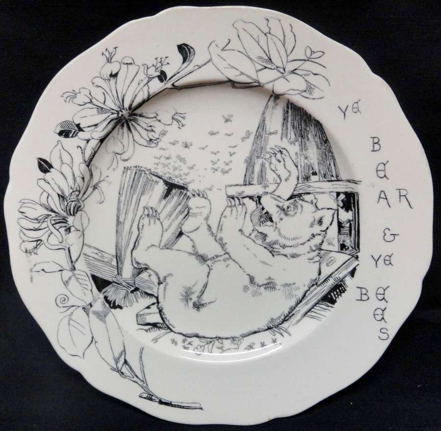 1870 Aesop's Fables BEAR BEES Plate