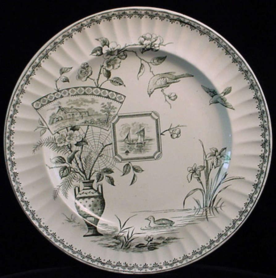 Aesthetic Black Transferware Plate ~ Kyle 1884