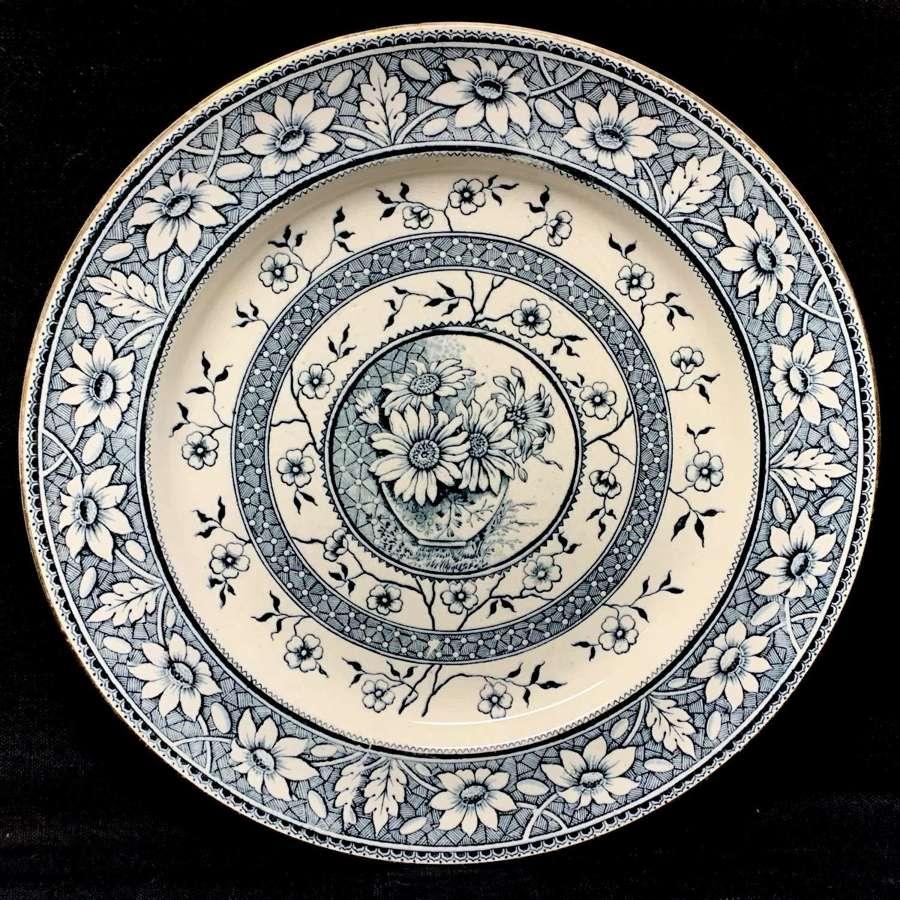 Very Large  Blue Transferware Plate ~ SUNFLOWERS PALMYRA 1883