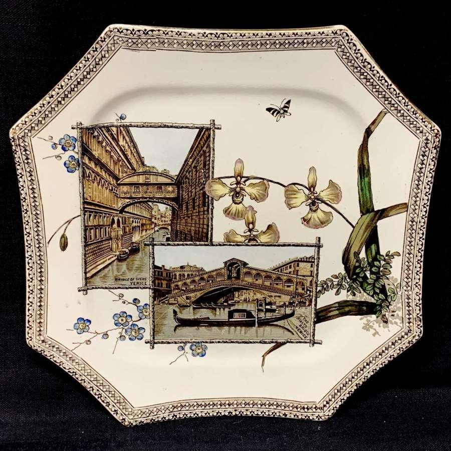 The World Aesthetic Brown Transferware Plate ~ VENICE 1884