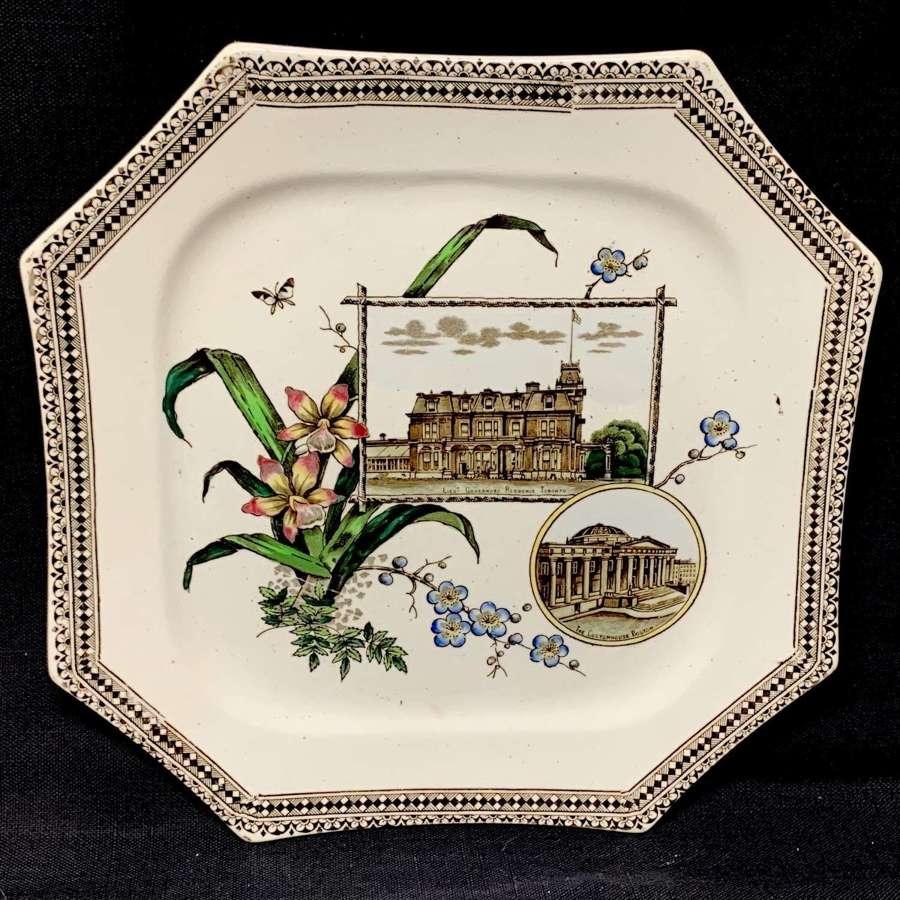 Canadian Historical Transferware Plate ~ Boston Toronto 1884