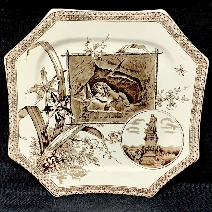Victorian Brown Transferware Plate ~ Lion of Lucerne 1884