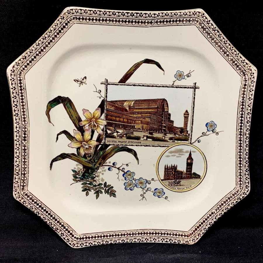 Victorian Plate ~ Crystal Palace + Clock Big Ben ~ 1884